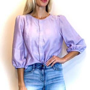 CREMIEUX BALLOON SLEEVE BUTTON FRONT BLOUSE LILAC